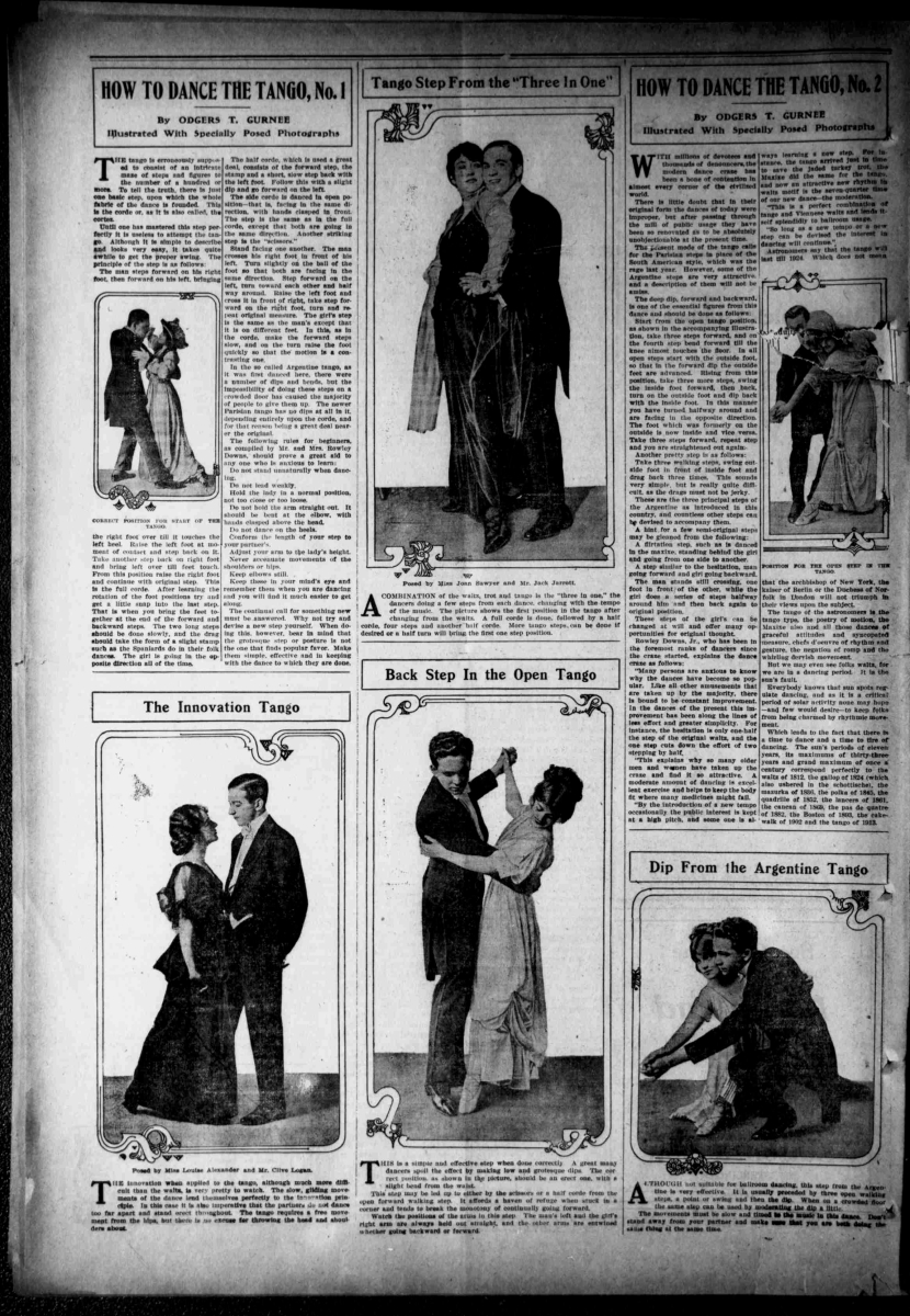 "Odgers T. Gurnee Teaches the Tango, Including the Corde/Cortez, Several Dips, Sweeps, Flirtation,  Innovation Tango and ""Three in One"""