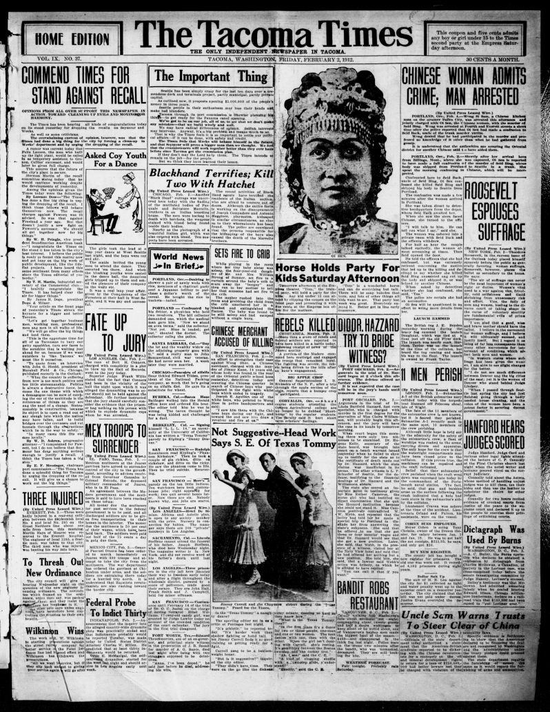 The Tacoma times., February 02, 1912, Image 1
