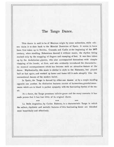 [1912, us] Carlos Roberto - La bella argentina. Tango (Lester S. Levy copy) 1